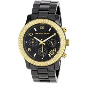 Michael Kors black Ceramic Watch with Crystals